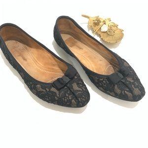 Salvatore Ferragamo My Joy Black Lace Flats
